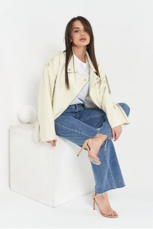 Куртка кожзам AFTF W2117 Молочный - фото 1