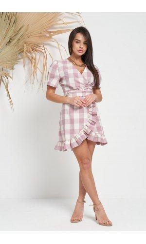 Платье короткий рукав Jlab+Remix V1998-107 (Розовый)
