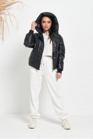 Куртка кожзам Lady Yep 2022 Черный - фото 2