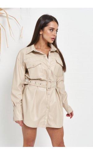 Рубашка кожзам длинный рукав Lady Yep W2134 (Молочный)