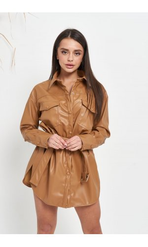 Рубашка кожзам длинный рукав Lady Yep W2134 (Т.Бежевый)