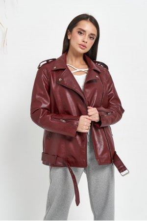 Куртка кожзам AFTF W2138 Бордовый - фото 2