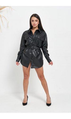 Рубашка кожзам длинный рукав Lady Yep W2134 (Черный)