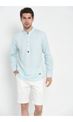 Рубашка лен длинный рукав Dannar Honnor 1754-4 Ментоловый