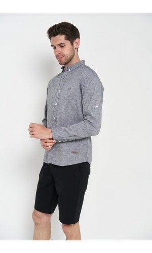 Рубашка лен длинный рукав Dannar Honnor 1838-02 Темно-серый