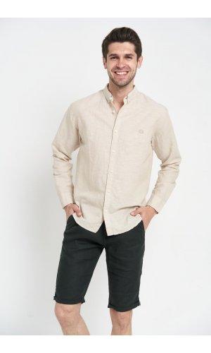 Рубашка лен длинный рукав Dannar Honnor 1838-03 Светло-бежевый