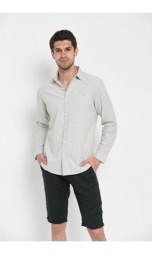 Рубашка длинный рукав Sold Out SH-209 Светло-серый