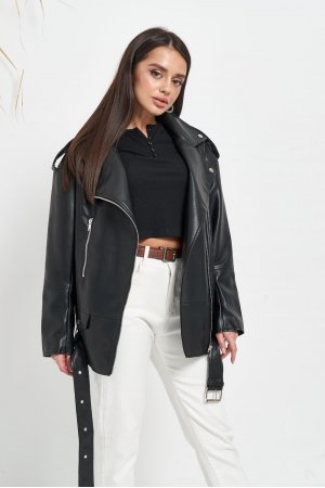 Куртка кожзам AFTF W2117 Черный - фото 1
