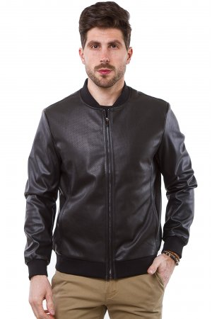 Куртка кожзам Puduoli 7875 Черный - фото 2