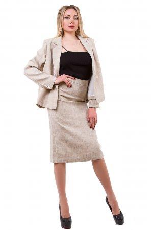 Костюм пиджак + юбка Mix 9242 Бежевый меланж