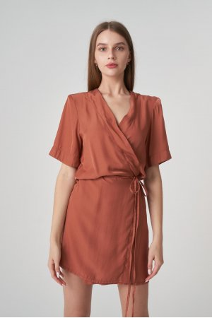 Платье короткий рукав Remix W V1977-4 Кирпичный - фото 2