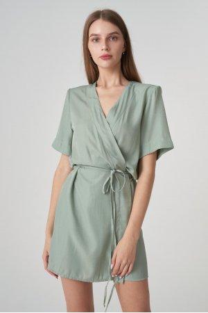 Платье короткий рукав Remix W V1977-4 Оливковый - фото 2