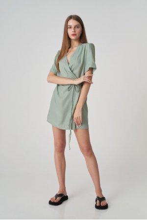 Платье короткий рукав Remix W V1977-4 Оливковый - фото 1