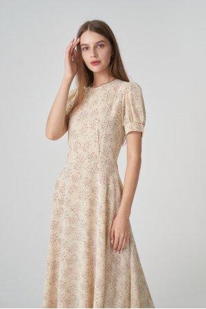 Платье короткий рукав Remix W V1977-6 Бежевый - фото 2