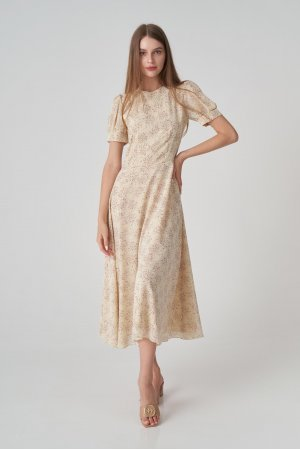 Платье короткий рукав Remix W V1977-6 Бежевый - фото 1