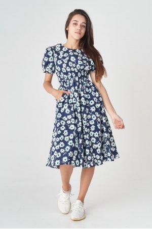 Платье короткий рукав HN 5079 Тёмно синий - фото 2