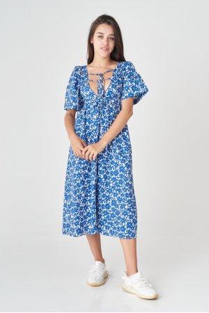 Платье короткий рукав HN 5086 Синий - фото 2