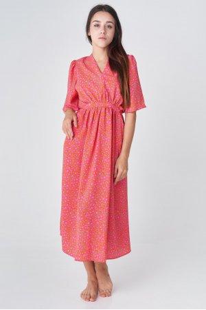 Платье короткий рукав CL 5090 Оранжевый - фото 2