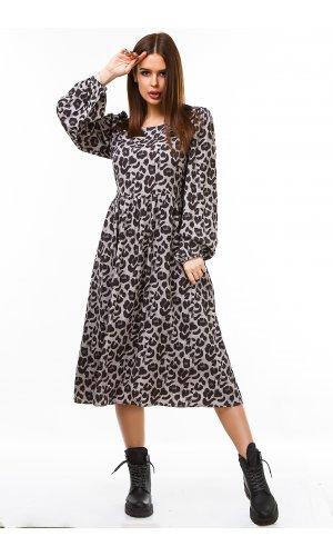 Платье длинный рукав Grace Li 8698 (Серый)