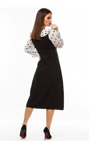 Платье длинный рукав Grace Li 6517 (Черно-бежевый)