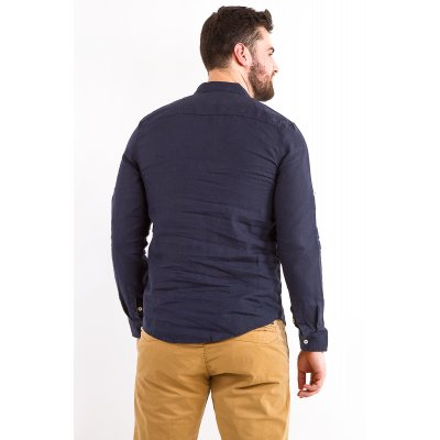 Рубашка лен Дл/рукав X-Ray L209 (Т.Синий)