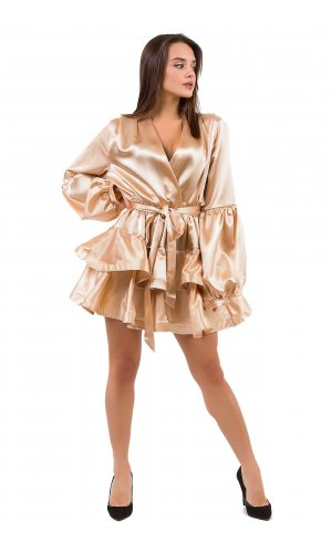 Платье + пояс  Lara P7919 (Бежевый)