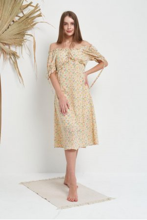 Платье Короткий Рукав Molorda 601082 (Желтый) - фото 2