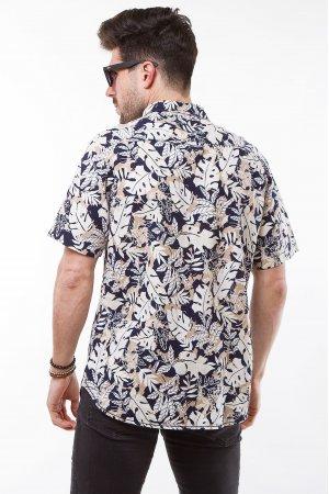Рубашка лен кор/рукав Jlab+Remix SC02 Белый