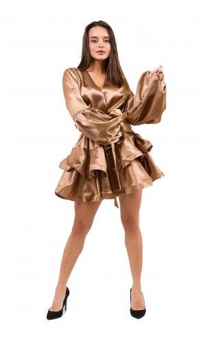 Платье + пояс  Lara  P7919 (Коричневый)